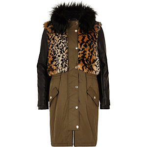 Khaki faux fur leather-look parka jacket
