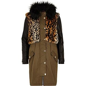 Khaki faux fur leather-look parka jacket