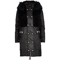Black coated faux fur parka jacket