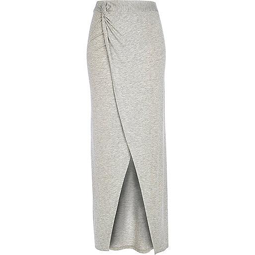 Grey marl knot front maxi skirt