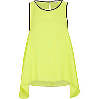 Lime contrast trim drape side vest