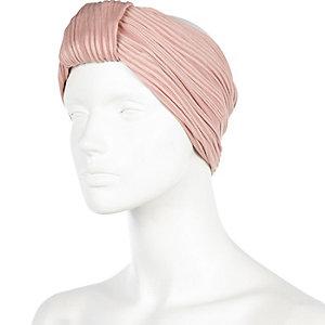 Light pink turban-style head band