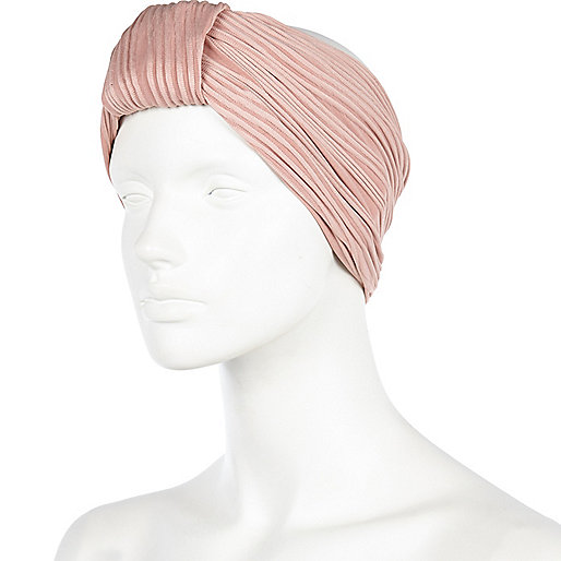 Light pink turban-style head band