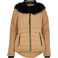 Camel faux fur collar padded jacket