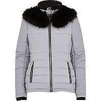 Lilac faux fur collar padded jacket