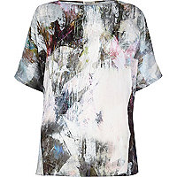 Grey abstract print silky split back top