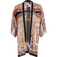 Red border print kimono