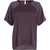 Dark purple satin sleeve oversized t-shirt