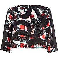 Black tartan art print crop top
