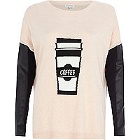 Pink coffee print contrast sleeve jumper