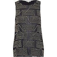 Navy embellished split-back vest