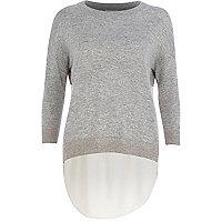 Grey woven back jumper