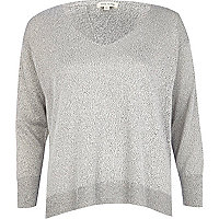 Grey metallic split back jumper
