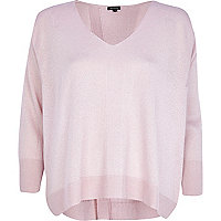 Light pink metallic split back jumper
