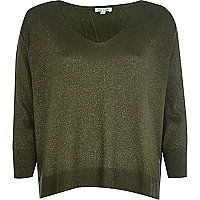 Khaki metallic split back jumper