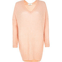 Coral V neck jumper dress
