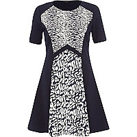 Navy animal jacquard fit and flare dress