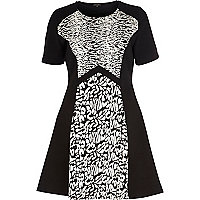 Black animal jacquard fit and flare dress