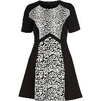 Black animal jacquard fit and flare dress
