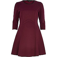 Dark red geometric panel fit and flare dress
