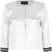 Silver embellished trim boxy jacket