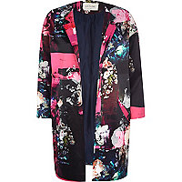 Black floral print collarless coat