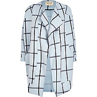 Light blue check oversized waterfall coat
