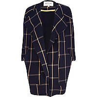 Navy check oversized waterfall coat