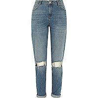 Mid wash ripped knee Ashley boyfriend jeans