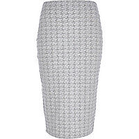 Grey dogtooth zip back midi skirt