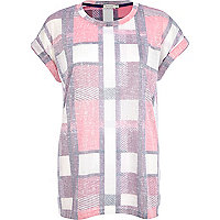 Pink burnout check print oversized t-shirt