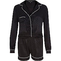 Black jaquard pyjama playsuit