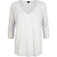 Grey marl V neck top