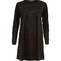 Black animal print devore swing dress