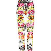Cream floral print pyjama bottoms