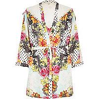 Cream floral print silky robe
