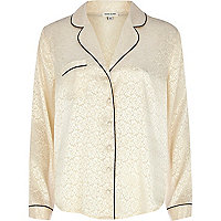 Cream jacquard pyjama top