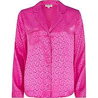 Pink jacquard pyjama top