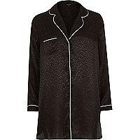 Black jacquard pyjama night shirt