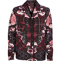 Red floral print pyjama top
