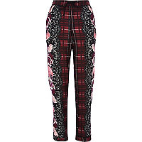Red floral print pyjama bottoms