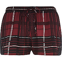 Red check print pyjama shorts