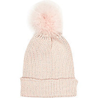 Light pink marabou feather beanie hat