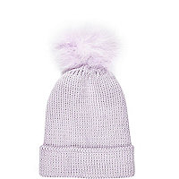 Lilac marabou feather beanie hat