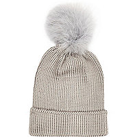 Grey marabou feather beanie hat
