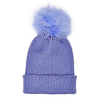Blue marabou feather beanie hat