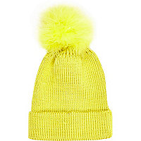 Lime marabou feather beanie hat