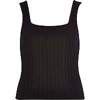 Black ribbed square neck vest