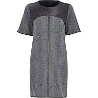 Grey leather-look snake t-shirt dress