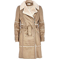 Beige faux sheepskin longline coat
